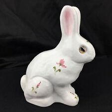 Rabbit Authentic Alcobaca Portugal Ceramic Bunny Hand painted Floral Glass Eyes