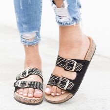 fbd9e6b90ca3 New Womens Studded Open Toe Double Buckle Slide Cork Flat Sandal Shoe Flip  Flops