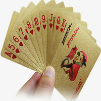 54 Playing Cards 24K Gold Foil Plated Poker Table Games Plastic Waterproof Cards