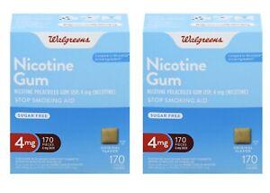 SALE!!! Lot 2 Walgreens Nicotine Gum 4mg 170pc Original (340pcs Total) NEW, FAST