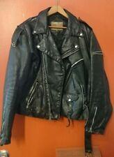 JAMES DEAN Style LEATHER JACKET Black Biker Motorcycle Rocker Vintage Metal Zip