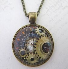 Vintage  Steampunk Necklace Pendant Bronze Compass Gears Cog New in Gift Bag