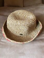 Scala Tan Khaki Straw Look Sun Hat Peach X Accents Rimmed or Not 9� One Size