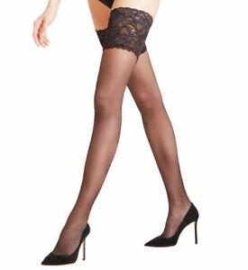 Falke Women's Black Seidenglatt 15 Stay Up Hose Size 2 10819
