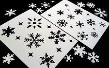 #M Set of 2pcs SNOWFLAKES Stencils Winter Christmas Windows Cake Dust Spray