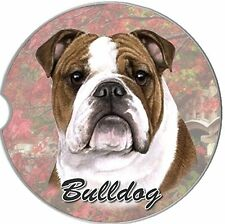 Bulldog Car Coaster Absorbent Keep Cup Holder Dry Stoneware New Dogs Brown White