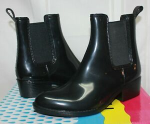 Jeffrey Campbell Stormy Rain booties black shiny rubber size 6 (fits like 5) NEW