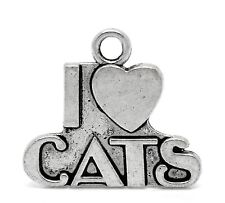 4 tibetan silver i love cats charms pendants