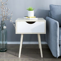1 Drawer Chic Bedside Tables Nightstand Cabinets Storage Organizer Bedroom White