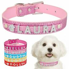 Personalised Leather Dog Collar Bling Name Charms Cat Puppy Kitten Pet Collars