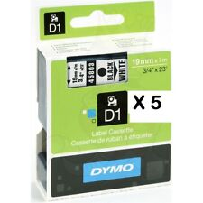5 x 19mm compatible DYMO D1 Series 45803 black on white label Tape S0722550