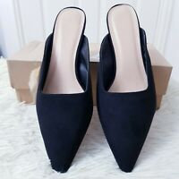 Simply Be Womens Black Suede Margo Slip-On Mule Size UK 8 Kitten Heel Wide Fit