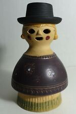 """PP79 RETRO 60'S POTTERY SMOKER CANDLE HOLDER, MAN IN BLACK HAT 5 1/2"""" H"""
