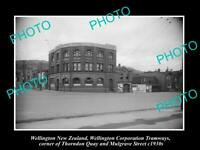 OLD POSTCARD SIZE PHOTO OF WELLINGTON NEW ZEALAND THE TRAMWAYS BUILDING c1930s
