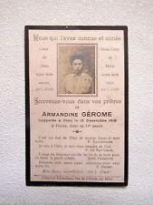 IMAGE d' AVIS MORTUAIRE : Armandine GEROME , Vivoin, 1918