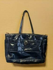 XL Coach Baby Diaper Bag Blue Denim Patent Leather Signature C with Changing Pad