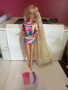 VINTAGE 1991 TOTALLY HAIR BARBIE DOLL W Triangle Earrings Dress & Ring