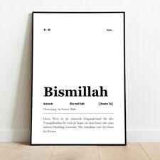 Bismillah définition Art pression Poster Image Cadeau Islam Allah Typographie pr...