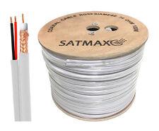 Satmax 100m White RG59 Coax Siamese CCTV BNC DC Camera DVR Security Cable