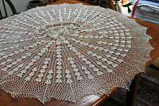 """Vintage 41"""" Beige Hand Crocheted Doily Beautiful!"""