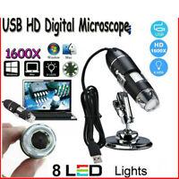 1600X USB Digital 8 LEDs Mini Mikroskop Lupe Fach Endoskop HD Microscope Kamera