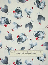 Rooster Farm Bird Gray Chicken Ecru Cotton Fabric Rooster Royale 22780-E - Yard