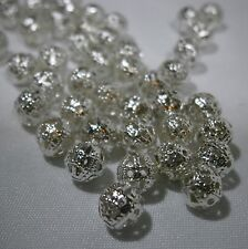 Lot of 50 6mm Filigree silver plated Beads...FREE USA SHIPPING Offer!!!