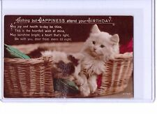 VINTAGE CAT KITTEN IN BASKET REAL PHOTO POSTCARD BIRTHDAY HAPPINESS 2079/2
