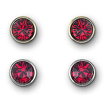 Swarovski #1111907 Harley Siam Pierced Earring Set Bnib Red Silver Gold Free S&H