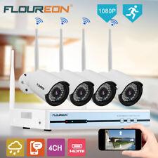 Floureon WLAN 4ch 1080p DVR NVR Système Kit Vidéo CCTV 4x IP Caméra surveillance