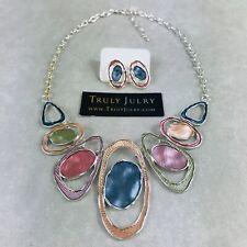 UK Ladies Designer Silver Multi Coloured Ovals Necklace Earring Set Jewellery
