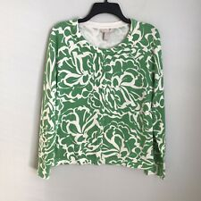 New Banana Republic Outlet Large Green White Floral Cardigan Sweater