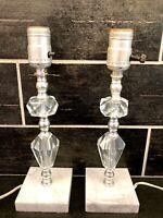 """Vtg Pair Glass Cut Stacked Diamond Boudoir Lamps Art Deco Marble Regency 11"""""""