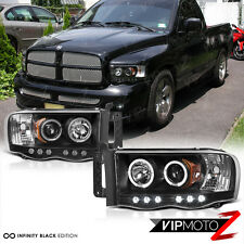 2002-2005 Dodge Ram 1500 Black Halo LED Projector Head Light 03-05 Ram 2500 3500