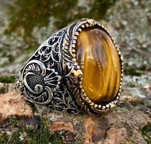 925k Solid Sterling Silver Tiger Eye Stone Elegant Men's Ring - USA - I1B