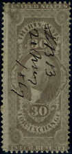 """#R51c 1862 30c """"FOREIGN EXCHANGE"""" FIRST ISSUE REVENUE STAMP-USED-PEN CANCEL"""