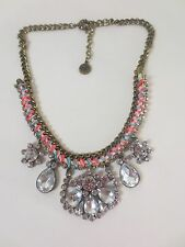 American Eagle Outfitters AEO Pink Ble Ribbon Cystal Statement Necklace NIP $59.
