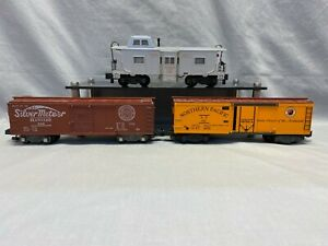 Vintage American Flyer S Scale 642 & 947 Box Cars & 4-9404 Bay Window Caboose