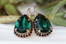 4.20Ct Pear Gorgeous Cut Green Emerald Huggie Hoop Earrings 14K Rose Gold Finish