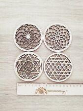 4pcs MIX B Sacred Wooden Coasters Grid Fleur De Vie Seed Of Life Flower of Life