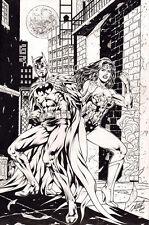 BATMAN & WONDER WOMAN ORIGINAL COMIC ART by AL RIO, COVER COMMISSION INKED! RARE