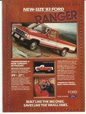 1983 Ford Ranger Pick Up Truck Red White Stripes Color Photo Vintage Print Ad