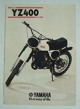 YAMAHA YZ400 MOTORCYCLE Sales Brochure 1977 #LIT-3MC-0105008-77E
