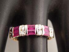 14k Yellow Gold Diamond F/VS1 Burma Ruby Designer ODU Ring 1.22 tcw Band Estate