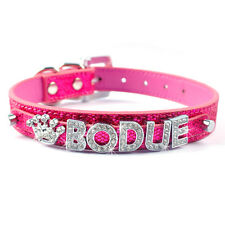 Leather Personalized Dog Collar Custom Free Rhinestone Name Charms Bling Buckle
