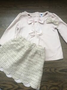 EUC Janie and Jack girl 3-piece WINTER pink silver gold tweed skirt bow SET 5 5T