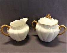 Shelley Dainty White Cream and Sugar Set with Lid Gold Trim Fine Bone China