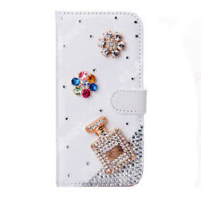 Flip Wallet Stand Case Crystal Bling PU Leather Cover Skin For Mobile Phone