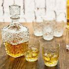 7 Pc Bormioli Rocco Whisky Decanter & Whiskey Tumblers Wine Glasses Gift Box Set