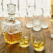 More details for 7 pc bormioli rocco whisky decanter & whiskey tumblers wine glasses gift box set